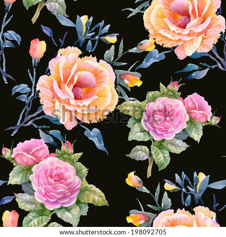 Watercolor floral seamless pattern on black background - stock photo