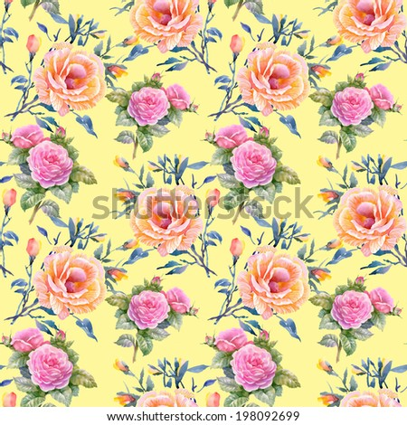 Watercolor floral seamless pattern on yellow background - stock photo