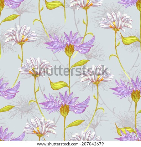 Watercolor floral seamless pattern with daisies and cornflowers. Abstract vintage flowers watercolor summer pattern. Seamless floral background with hand drawn flowers. - stock photo