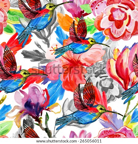 Watercolor floral seamless pattern with orchid flowers and hummingbird - stock photo