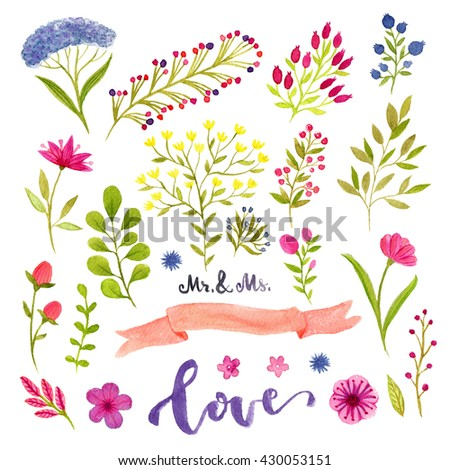 Watercolor floral set with decorative flowers and berries branches. Decoration for wedding invitation  - stock photo