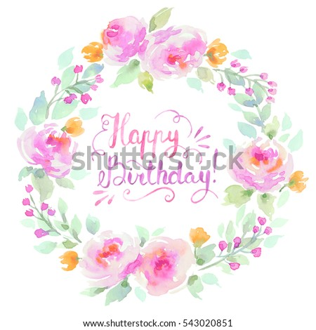 Watercolor Floral Wreath In Pastel Color With Happy Birthday Lettering On White Background Shabby Chic