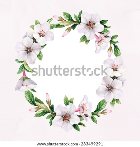Watercolor floral wreath. Perfect for greeting card or invitation - stock photo