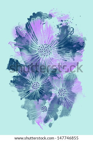 Watercolor Flower - stock photo