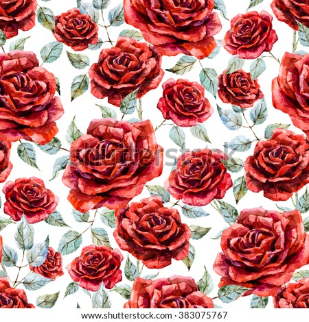 Watercolor Flower Pattern Red Rose White Background Retro Wallpaper