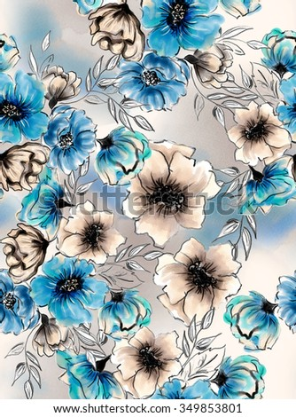 Watercolor Flower Repeating Pattern - stock photo