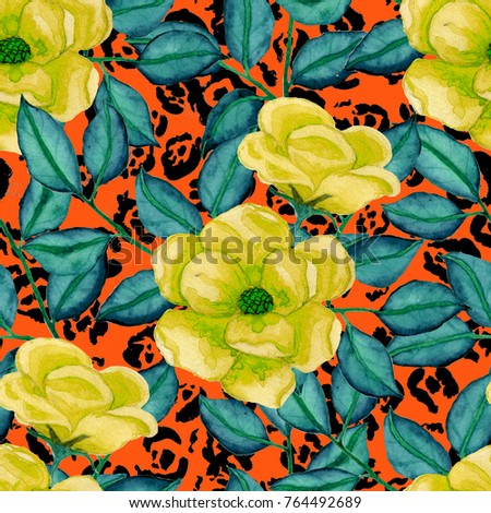 Watercolor flower seamless pattern on leopard skin texture. Fashion print. Floral background.