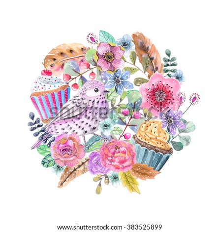 Watercolor flower wreath background for beautiful design, the 8th of march design, women's day