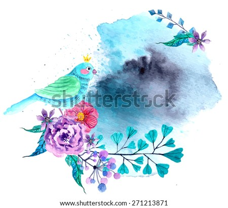 Watercolor flowers and bird background, bright and beautiful illustration - stock photo