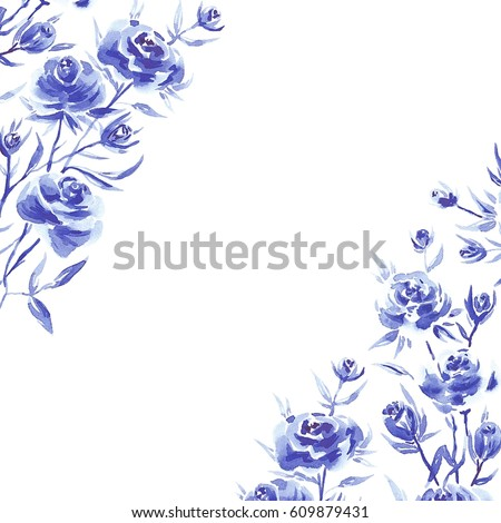Blue Watercolor Flowers Stock Images Royalty Free Images
