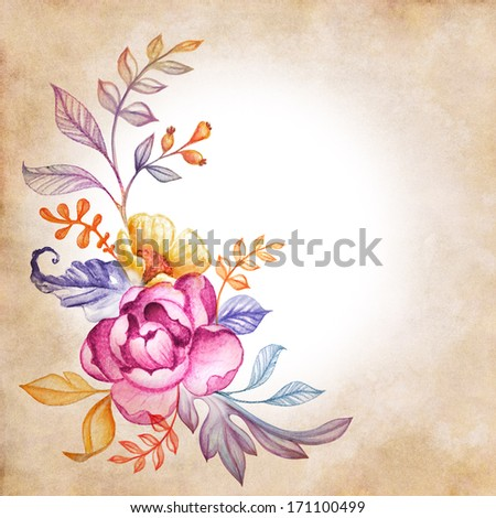 watercolor flowers and leaves composition on vintage paper background - stock photo