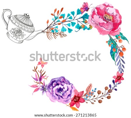 Watercolor flowers background with teapot - stock photo