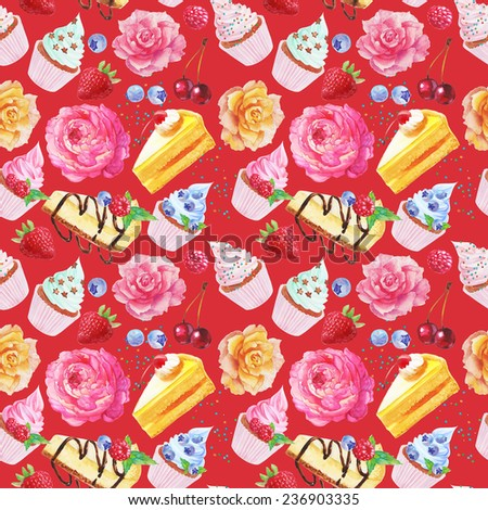 watercolor flowers cakes cupcakes berries seamless pattern on a red background - stock photo