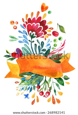 Watercolor Flowers for Summer or Spring Cards, Invitations, Flyers Design. Aquarelle Flowers and Ribbon Composition for Greeting and Wedding Cards. Template with Watercolor Paint Flower.  - stock photo