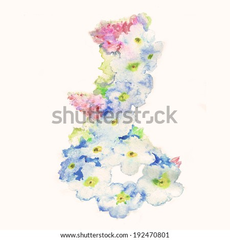 Watercolor flowers forget-me- - stock photo