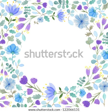 Watercolor flowers frame template #2 - stock photo
