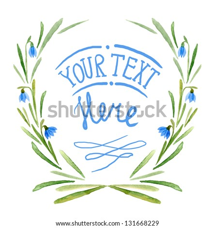 Watercolor flowers frame template - stock photo