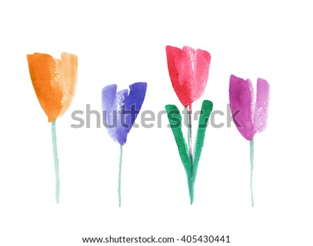 Watercolor flowers on a white background
