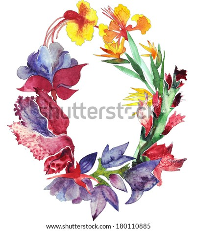 Watercolor flowers oval frame - stock photo