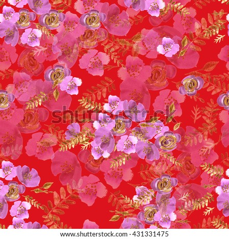 Watercolor flowers roses peonies seamless pattern. Hand painted art texture with peonies, roses and golden leaves. Repeating design wallpaper