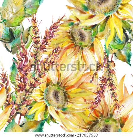 Watercolor flowers.Seamless floral watercolor ornament - stock photo
