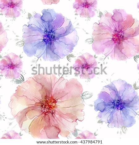 Watercolor flowers. Seamless pattern. Hand painted artistic texture anemone flowers and leaves. Repeating wallpaper design.