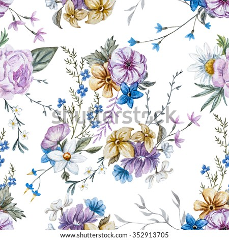 watercolor flowers seamless pattern, vintage English wallpapers, retro, rose, daisy, delicate wallpaper - stock photo