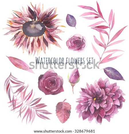 Watercolor flowers set. Hand painted purple, pink flowers and leaves: rose, dahlia, palm tree isolated on white background. Floral artistic collection - stock photo