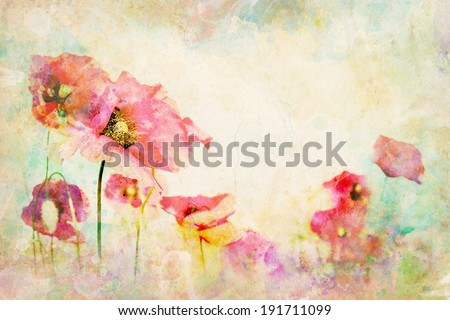Watercolor flowers - wallpaper with illustration of poppy. Multicolor wash drawing with floral composition. Paper texture background with poppies painting.  - stock photo