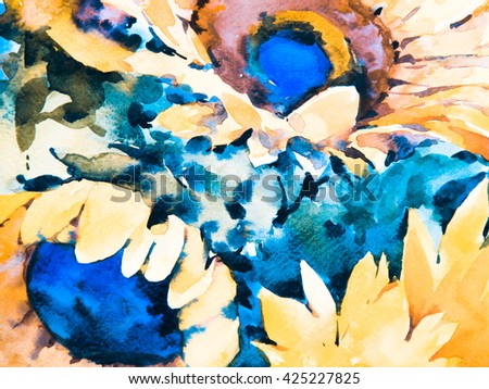 Watercolor flowers. Watercolor background. Sunflowers on  yellow background