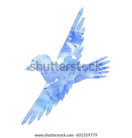 Vector Watercolorstyle Flying Crane On White Stock Vector ...