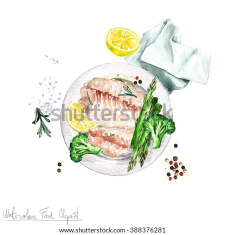 Watercolor Food Clipart - Fish - stock photo