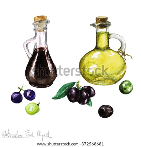 Watercolor Food Clipart -  Olive oil and Vinegar - stock photo