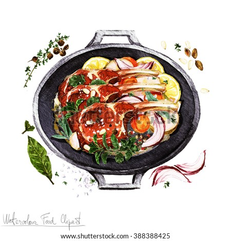 Watercolor Food Clipart - Ribs in a cooking pot - stock photo