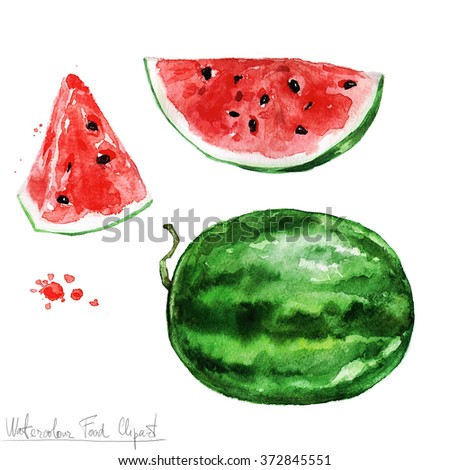 Watercolor Food Clipart - Watermelon - stock photo