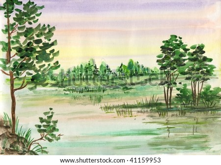 Watercolor forest landscape - stock photo