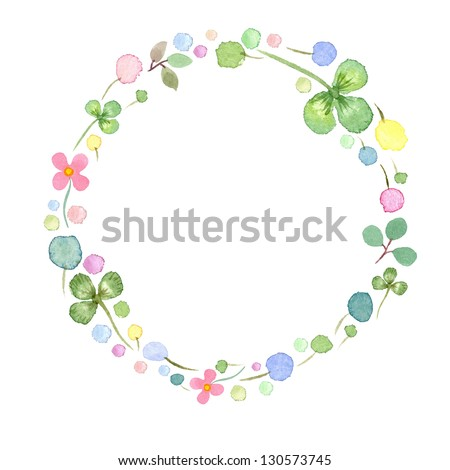 Watercolor frame template  with spring flowers #1 - stock photo