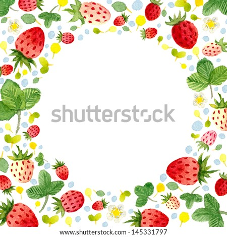 Watercolor Frame Template Strawberries Leafs 2 Stock Illustration ...