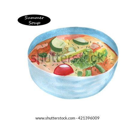 Watercolor fresh vegetable soup made of green bean, carrot, potato, red bell pepper, tomato in bowl. Tasty nutrition healthy soup isolated  on  white background. Summer soup. Green soup with cucumbers - stock photo