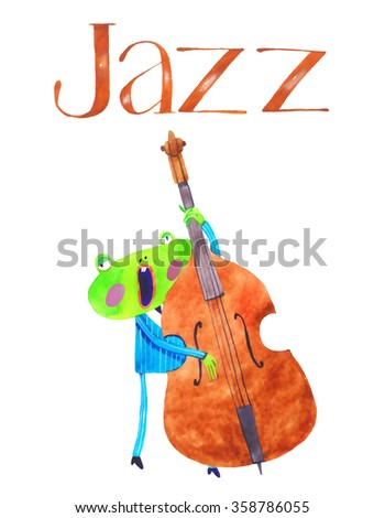 watercolor frog, contra bass , cartoon illustration isolated on white background - stock photo
