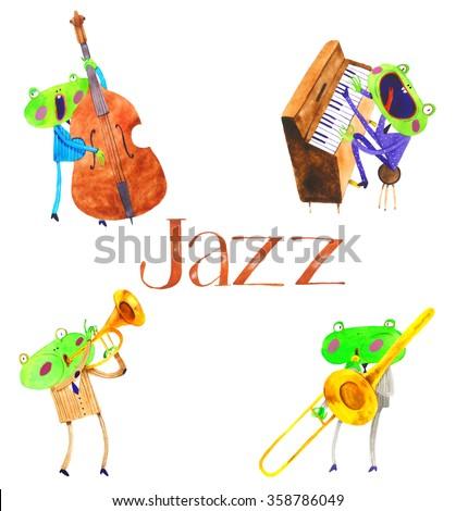 watercolor frog jazz band , cartoon illustration isolated on white background - stock photo