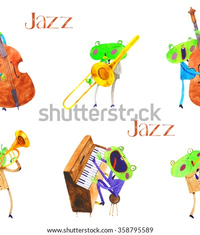 watercolor frog jazz band seamless pattern , cartoon illustration isolated on white background - stock photo