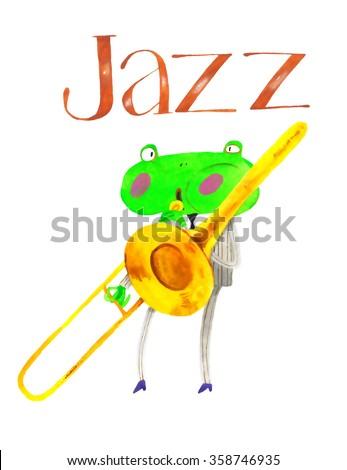 watercolor frog, jazz, trumpet , trombone,  cartoon illustration isolated on white background - stock photo