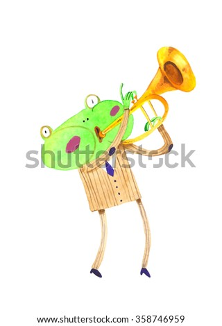 watercolor frog, trumpet , cartoon illustration isolated on white background - stock photo