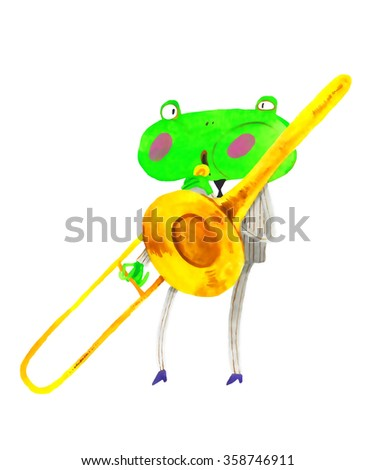 watercolor frog, trumpet , trombone,  cartoon illustration isolated on white background - stock photo