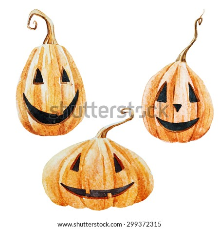 watercolor funny pumpkin with eyes, isolated object, symbol of Halloween, autumn,watercolor isolated objects seasonal fashion print Halloween day, bright colorful pumpkins with faces - stock photo