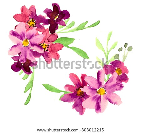 Watercolor garden and wild red flowers. Watercolor Floral bouquet illustration - stock photo