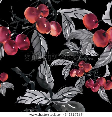 Watercolor garden ripe cherries seamless pattern on black background - stock photo
