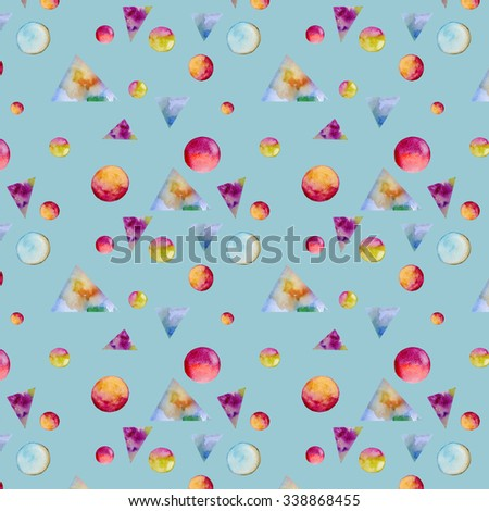 watercolor geometric pattern - stock photo