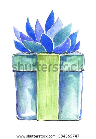 Watercolor Gift Box With Blue Flower And Green Ribbon